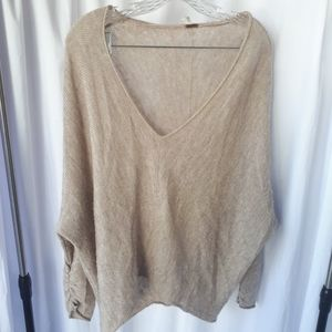 Free People V-Neck Cream Sweater XS